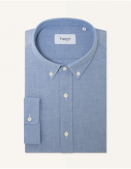 Chemise Gaston Contemporaine en oxford bleu
