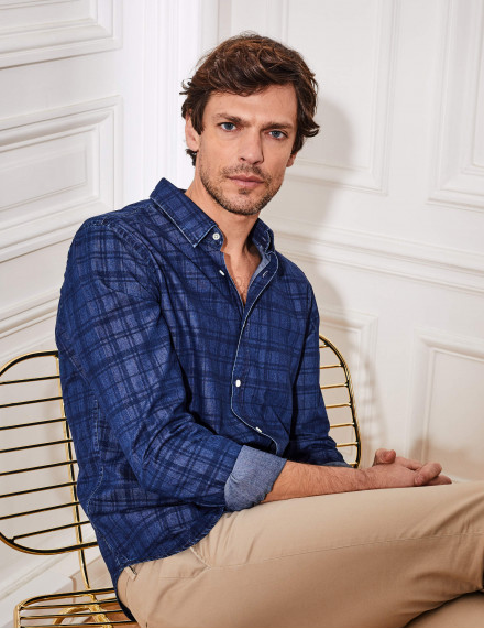 Chemise Gaston Contemporaine marine en twill à carreaux