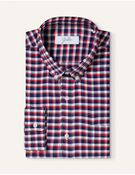 Chemise Gaston Contemporaine en oxford à carreaux marine