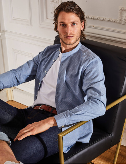 Chemise Contemporaine Gaston jacquard bleu