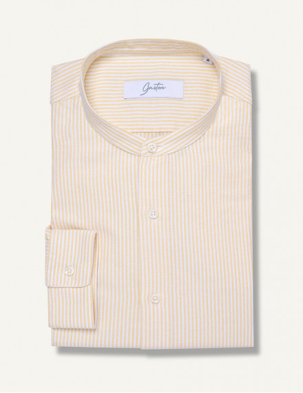 Chemise Gaston Contemporaine en oxford rayé jaune
