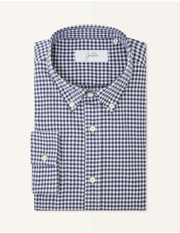 Chemise Gaston Contemporaine en oxford à carreaux bleus