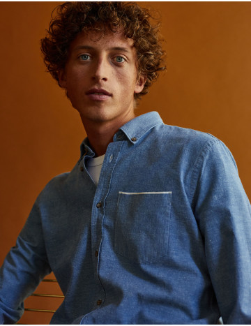 Chemise Gaston Contemporaine en chambray bleu